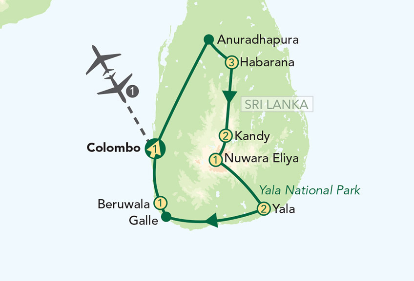 Sri Lanka Tour Map